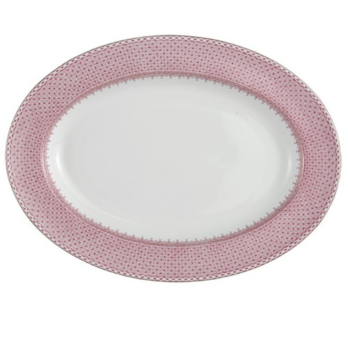 Pink Lace Oval Platter by Mottahedeh