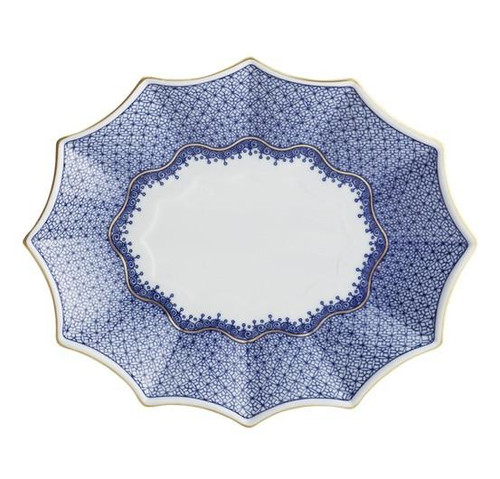 BLUE LACE FLUTED TRAY, LARGE