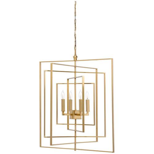 Cube Antique Brass Chandelier