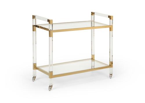 Acrylic Bar Cart - Brass