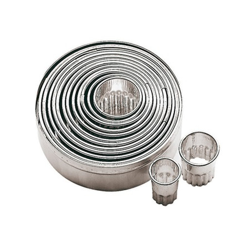 Dough Cutters Set/14, Round Fluted