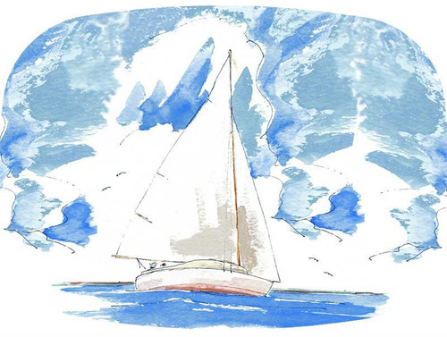 Sailboat Melamine Plate/ Platter by Bill Kelley