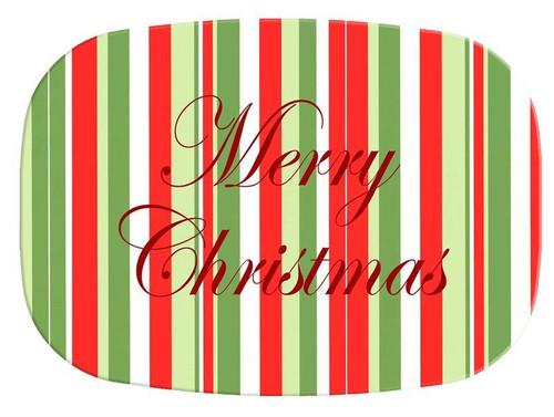 Large Christmas Stripe Melamine Plate/ Platter