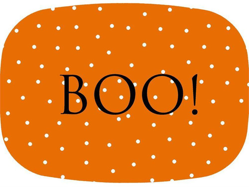 Orange Halloween Dot Personalized Melamine Plate/ Platter