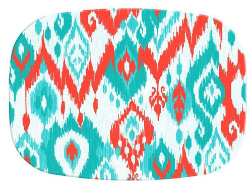 Coral and Turquoise Ikat Melamine Plate/ Platter