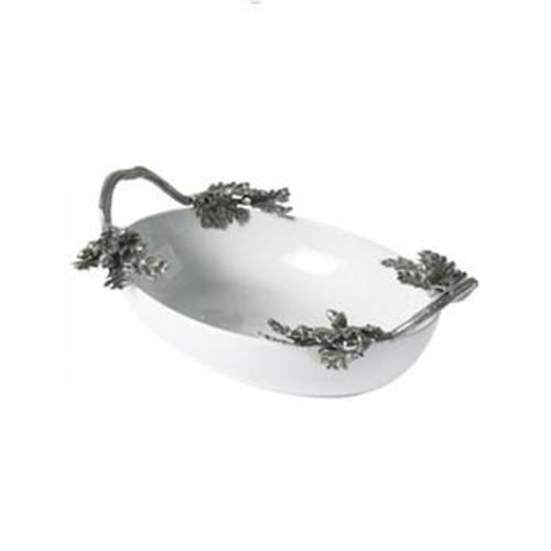 Acorn & Oak Leaf Porcelain and Pewter Serving Bowl