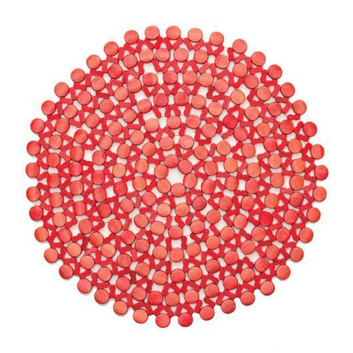 Round Bamboo Placemat by Kim Seybert   Coral S/ 4