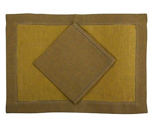 Tosca Rustica placemats and napkins 14x20 inches S/4   Gold