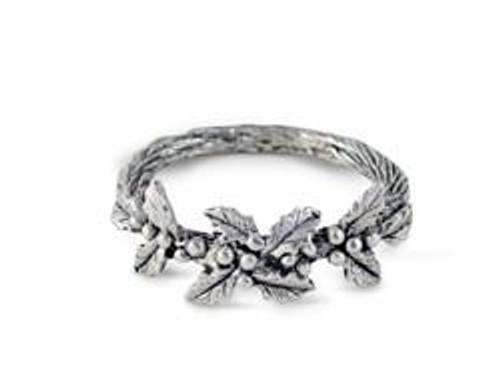Pewter Holly Napkin Ring-Set of 4