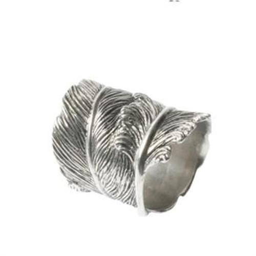 Pewter Feather Napkin Ring S/4
