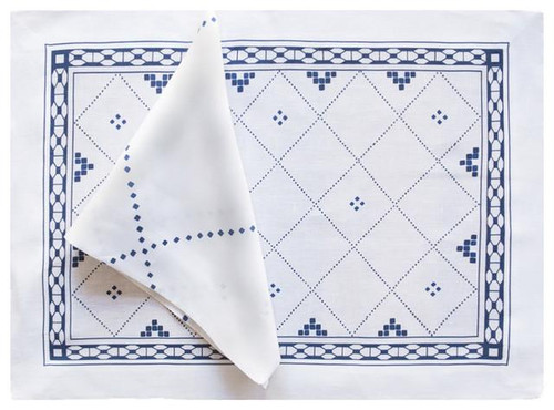 Anfa Blue and White Linen Table Napkins- Set of 6