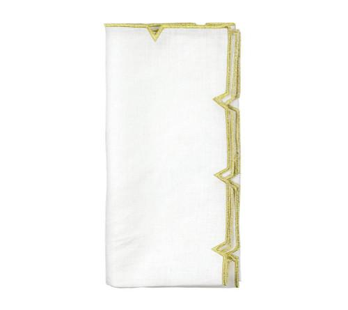 Divot Napkin | White & Gold  S/4