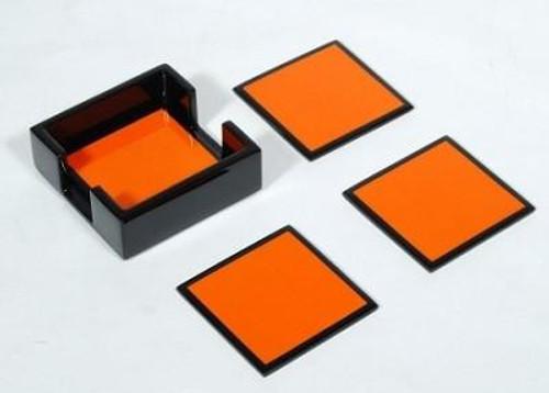 Orange and Black Lacquered Coasters