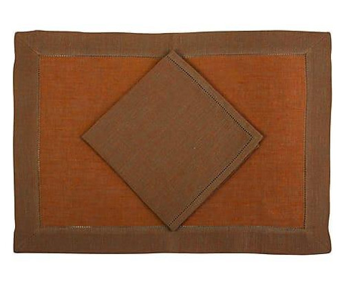 Tosca Rustica placemats and napkins 14x20 inches S/4 | Orange