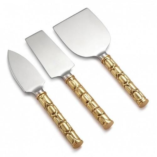 Helios Gold Tone Metal Cheese Set