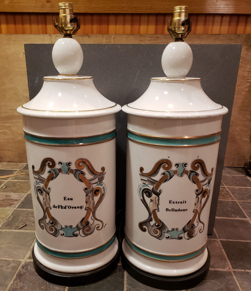 19th C French Porcelain Apothecary Table Lamps