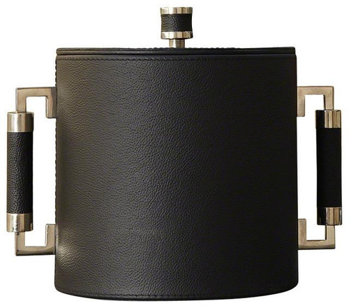 Double Handle Ice Bucket-Black/Nickel