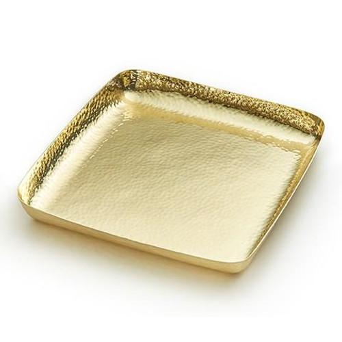 """El Dorado Gold Tone Metal Square Tray 9"""" x 9"""" x 1"""""""
