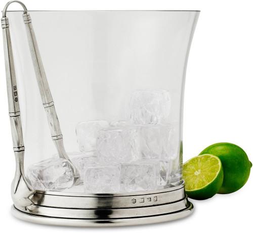 Crystal Ice Bucket with Tongs Set