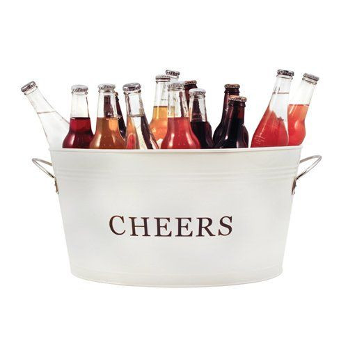 CHEERS GALVANIZED METAL TUB BY TWINE