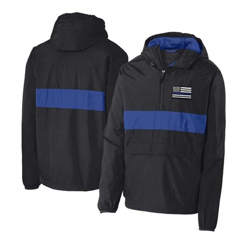 1/2 Zip Hooded - Thin Blue Line Embroidered