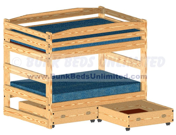 Full Size Bunk Bed Plan with Drawers