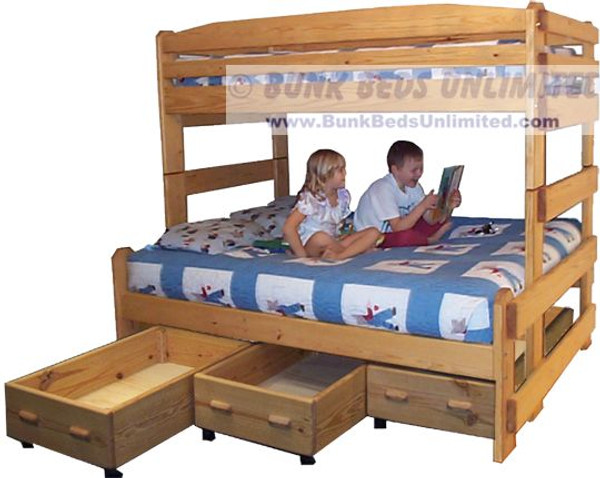 Full Twin Stackable bunk with Three Drawers