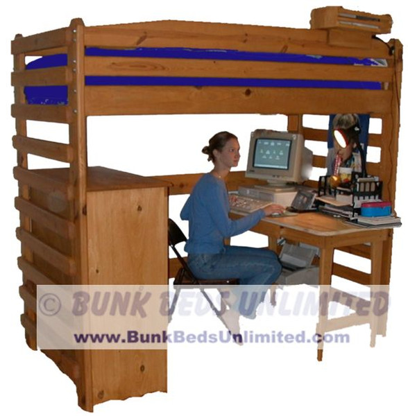 Tall Loft Bed Plans Room for an Adult to Sit at Desk  (bed is modified slightly from actual plan).