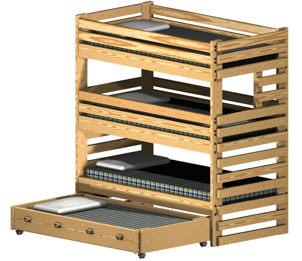Triple Bunk Bed Plan Extra-Tall with Storage Drawers or Trundle Bed