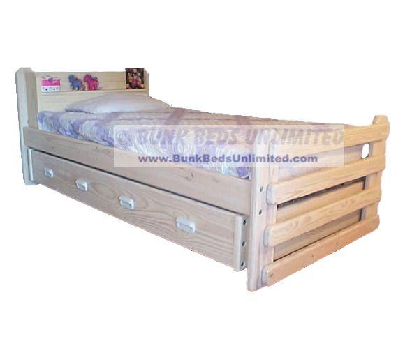 Trundle Bed Majestic Whitewash Finish Standard Twin Mattress Both Beds
