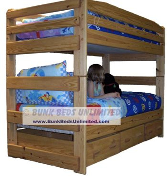 Bunk Bed Twin Stackable With 3 Drawers