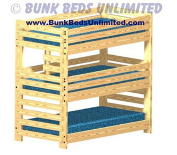 Picture of Triple Bunk Bed Plans for Kids or Adults Very Sturdy