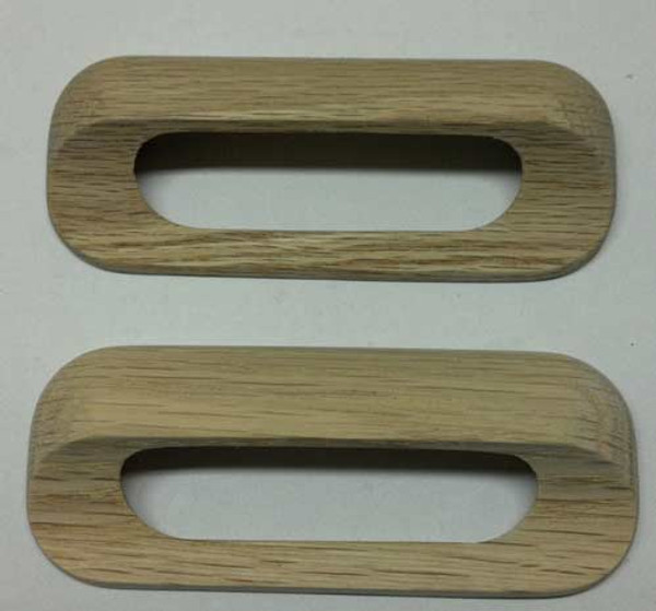 Drawer handle pulls, solid oak wooden, set of 4 with machine thread screws