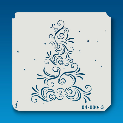 04-00043 Flourished Christmas Tree Stencil