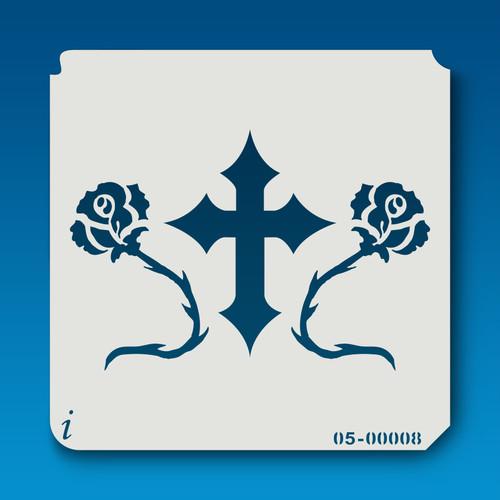 05-00008 cross & roses stencil