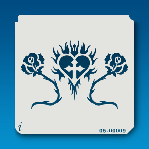 05-00009 flaming cross & roses stencil