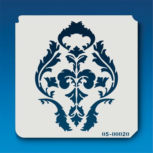 05-00020 Keyhole Leaf Damask Stencil