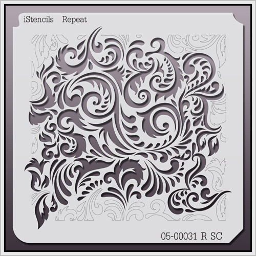 05-00031 R SC Feathered Damask Stencil