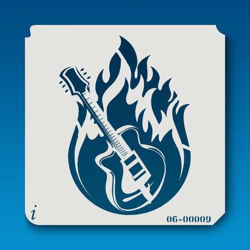 06-00009 Guitar In Flames Decorative Stencil