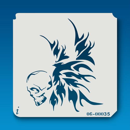 06-00035 skull & wings stencil