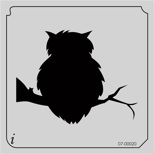 07-00020 Scary Owl Bird Stencil