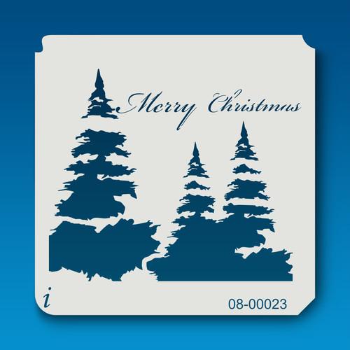 08-00023 Merry Christmas Tree Stencil