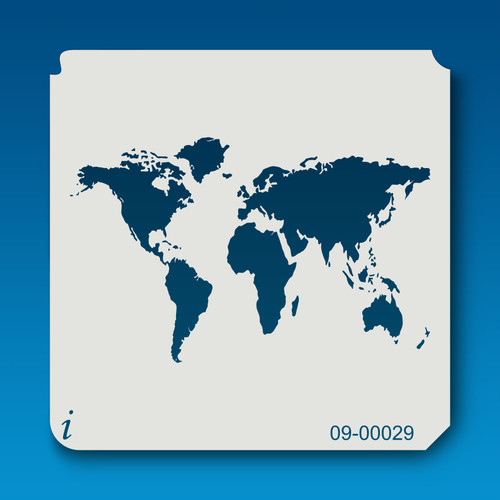 09-00029 World Map Stencil