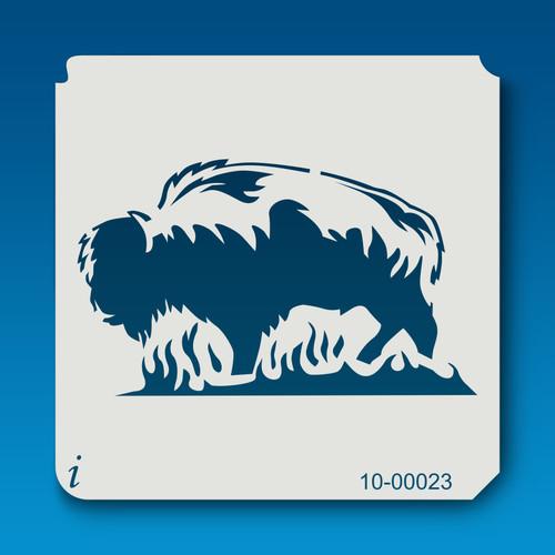 10-00023 Flaming Buffalo Animal Stencil