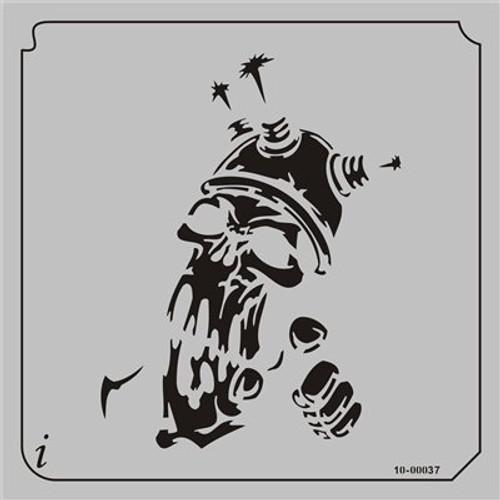 10-00037 Electric Shock Skull Stencil