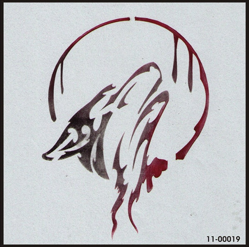 11-00019 Howling Wolf Stenciling