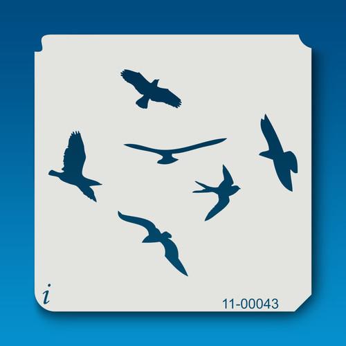 11-00043 flying birds stencil