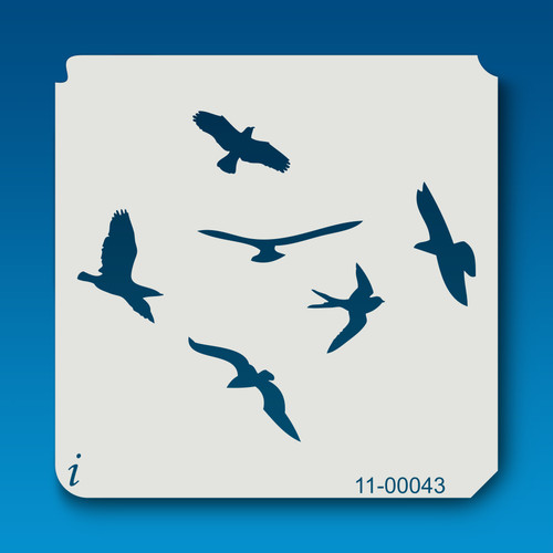 11-00043 flying birds stencil