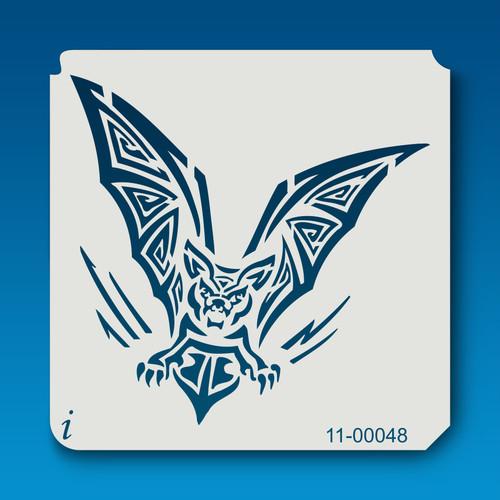 11-00048 bat tribal tattoo stencil