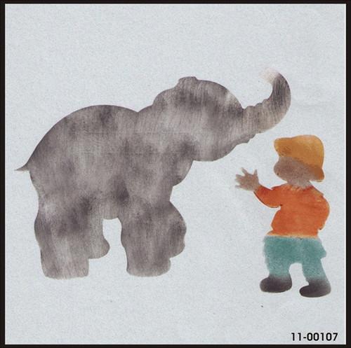 11-00107 Elephant & Boy Safari Animal Stencil